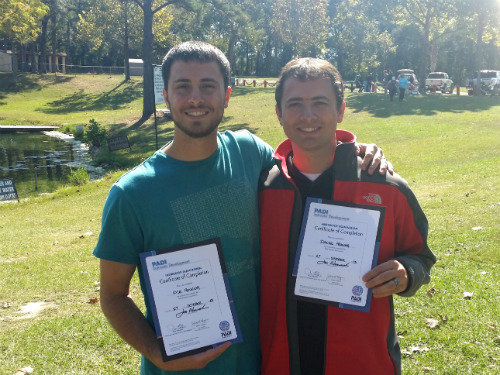 Kyle and I with our certificates at Vortex Springs