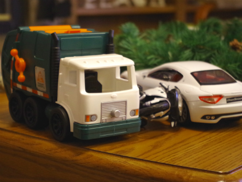 Toy cars on the coffee table