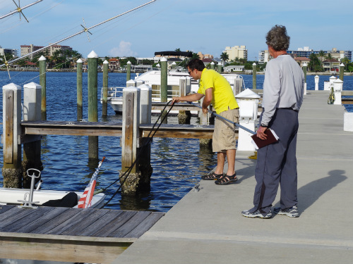 Dan was able to help our neighbor in Lantana park his boat as others had done for us in Stuart.
