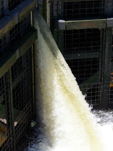 Water pouring in from the high side of the lock.