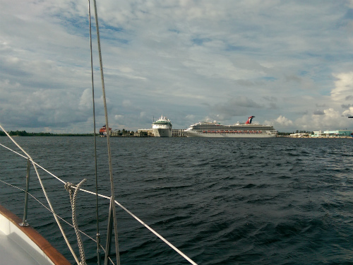 It was a little nerve-wracking sharing the water with huge cargo and cruise ships in Port Everglades!