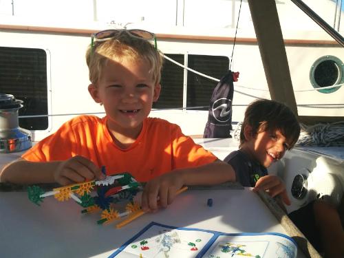 Matthew helped Carter build his K'nex helicopter