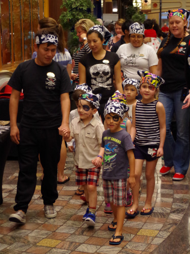 "The kids all dressed up as pirates and paraded through the ""Royal Promenade"""