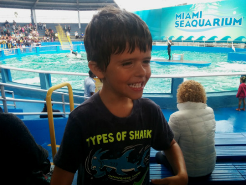 Carter insisted that he wanted to get soaked by the orca!