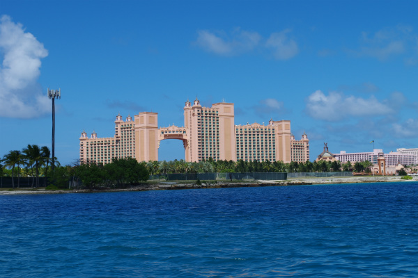 The view of the Atlantis resort from the harbor