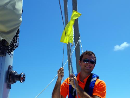 Dan raising the quarantine flag.