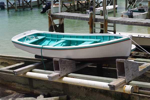 Picturesque handmade boats were in abundance on Man-O-War Cay.